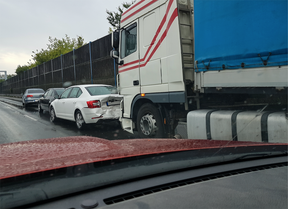 Distracted Truck Driver Causes Accident